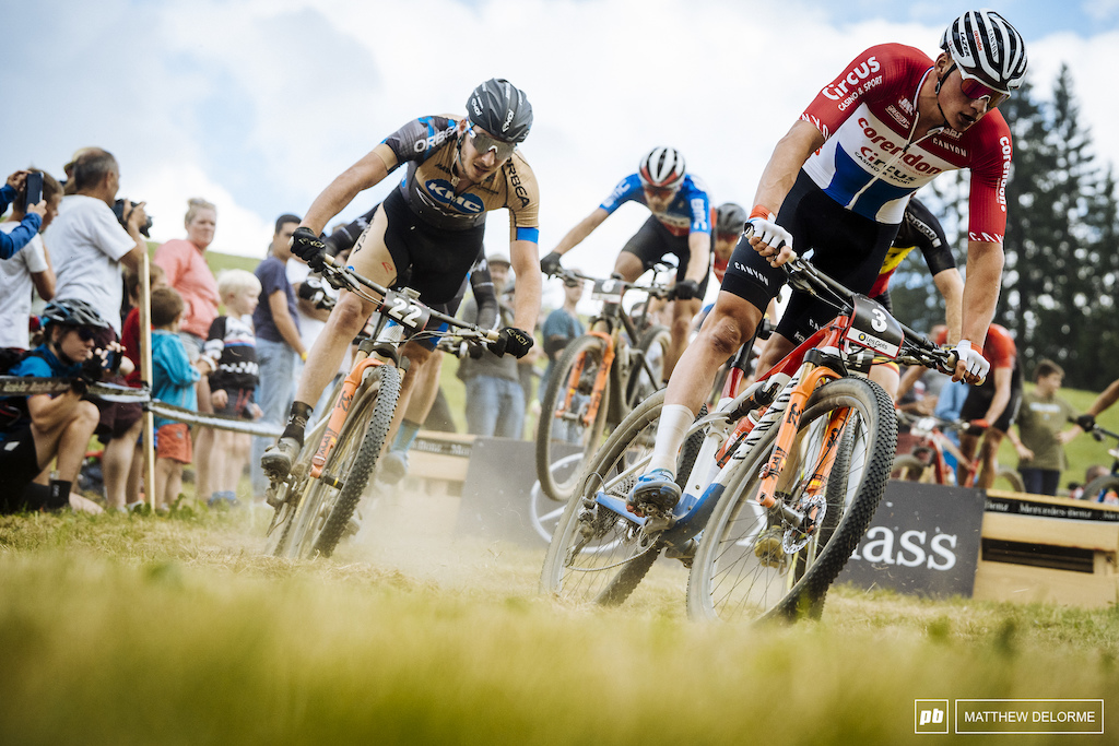 Mathieu van der Poel leads Victor Koretzky in the final laps.