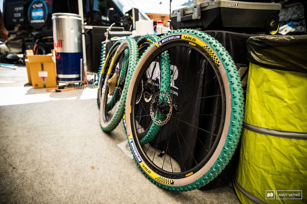 A new Michelin Wild tire that the Orbea KMC team is looking to test this week even though the course is mostly grass.