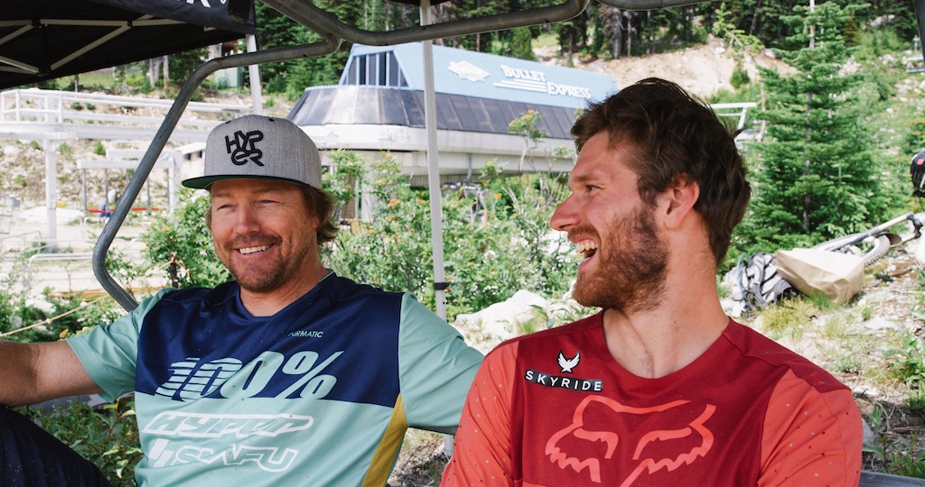 Team manager EC and Bas having a laugh bench racing about their runs after the Air DH finals.