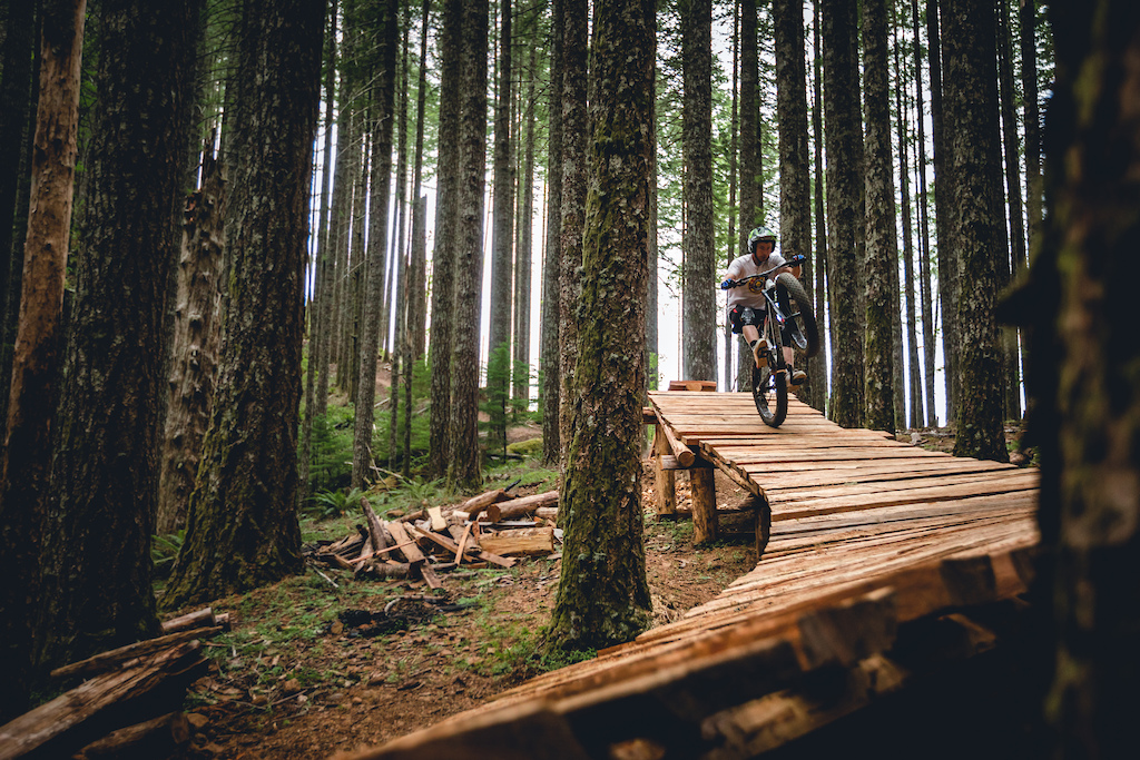 Pat Smage riding the Blackrock trail network while filming with PNW Components. Photo by Trevor Lyden.