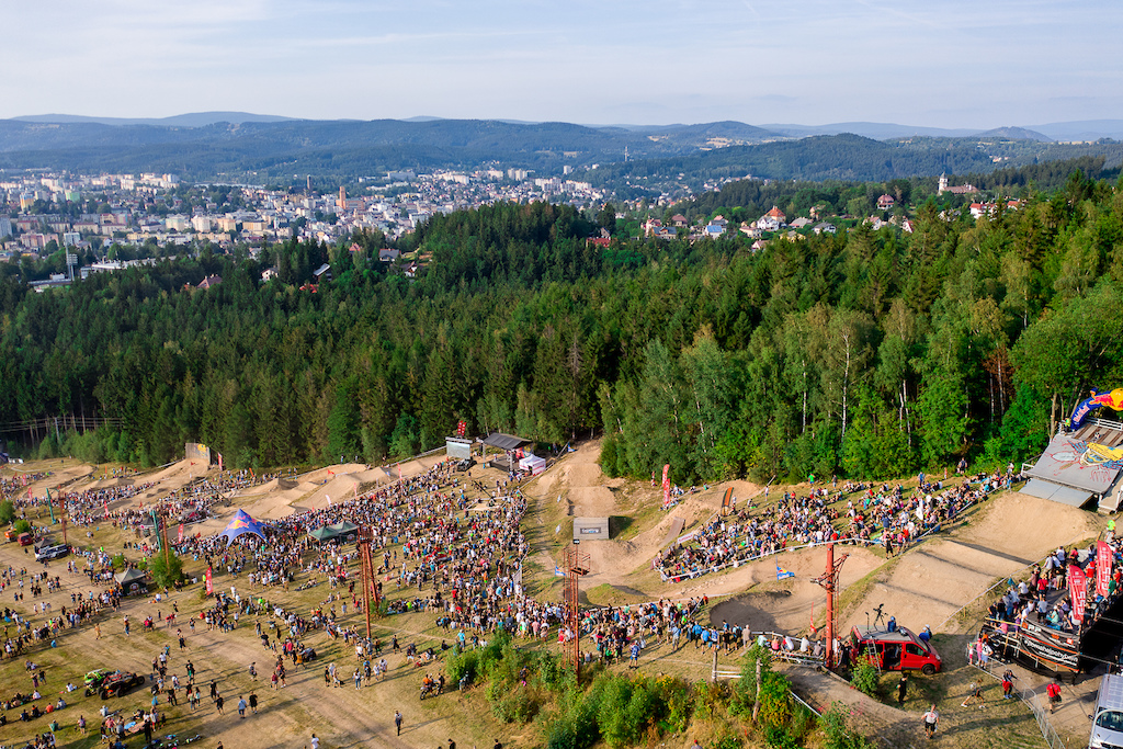 Practice and racing during round 2 of The 2019 4X Pro Tour at JBC Bike Park Jablonec Nad Nisou Czech Republic on July 20 2019. Photo Charles A Robertson