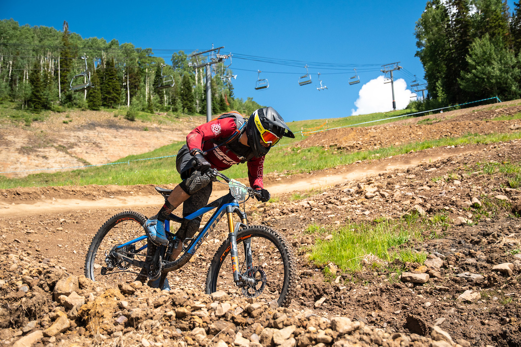 Scott Countryman giving it a dig in the bike park berms of stage four.