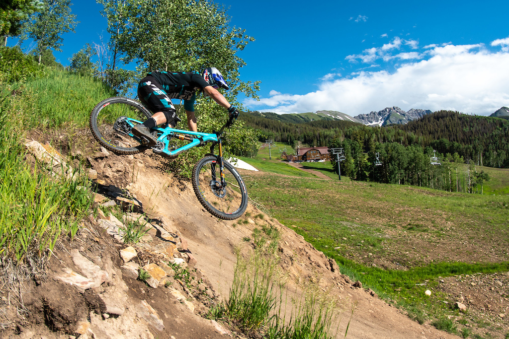 Richie sends it off the Yute Drop on the World Cup Dh Trail during the new-to-BME DH race.