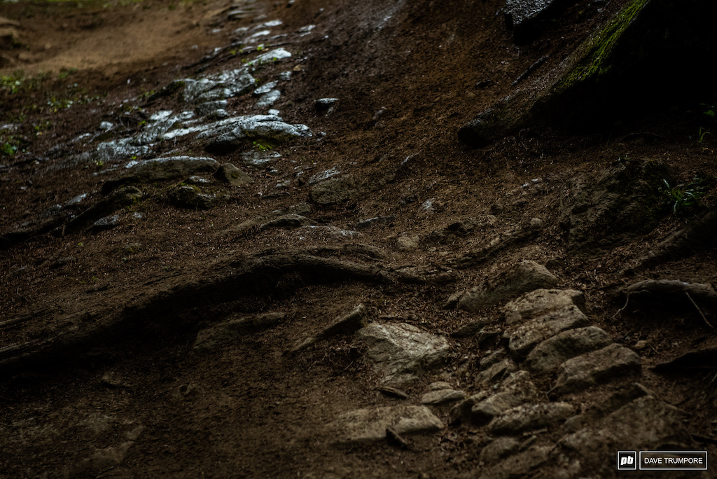 dry dirt to wet rock back to dry dirt all in 50 meters of track. If it rains here things get complicated.