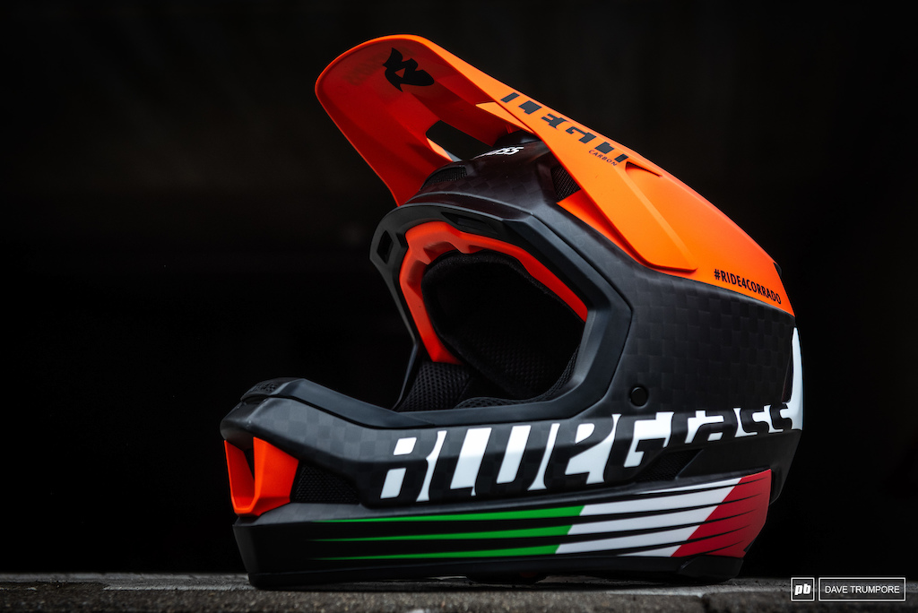 Mick Hannah's tribute helmet to the late great Italian DH racer Corrado Herin