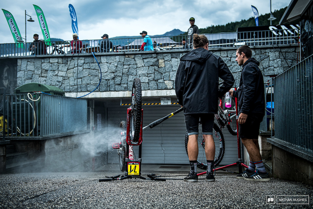 Last bike wash at this race? Let's hope so. The forecast is looking clear for the big day.