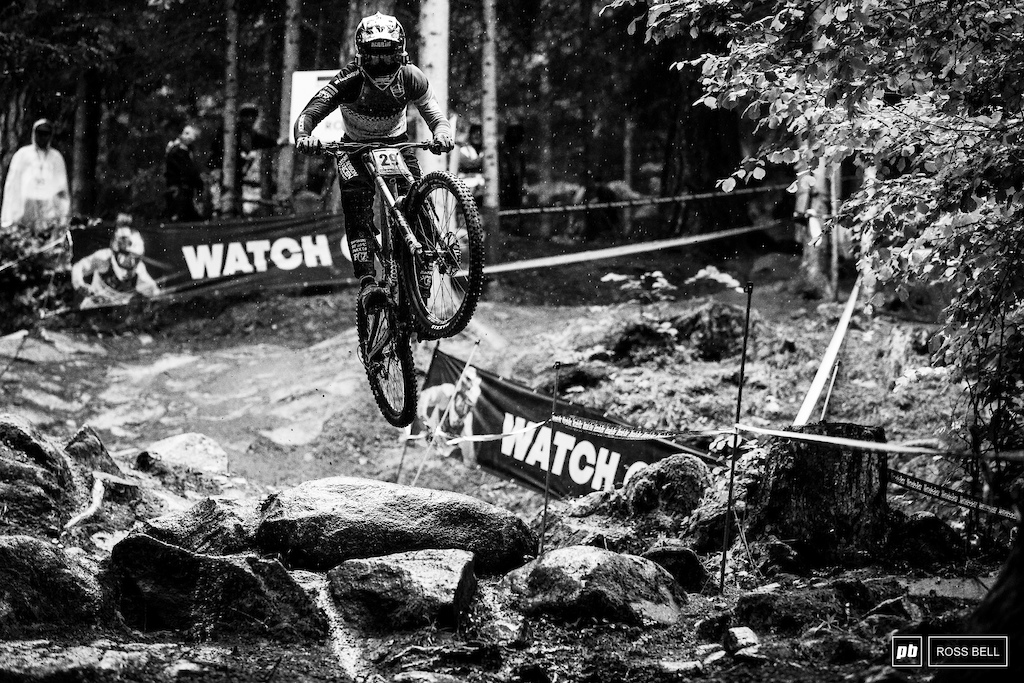 Alex Marin was one of the only riders to still send this gap through the rock garden in the wet.