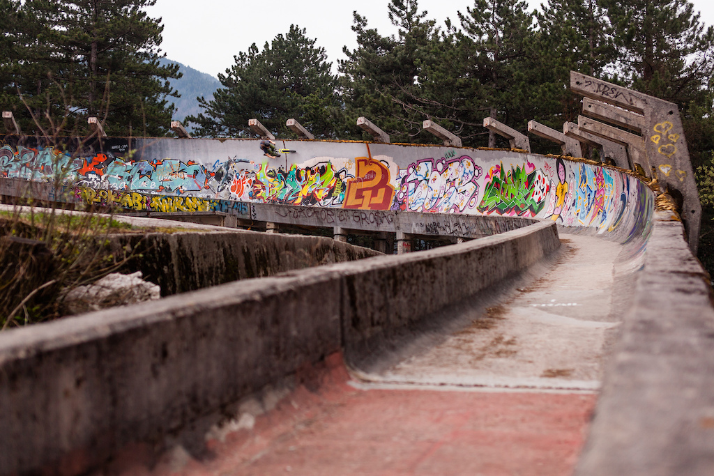 Build for the Olympics in 1984 the bobsled track outside of Sarajevo deeply embedded in the Bosnian forest lies abandoned for years.