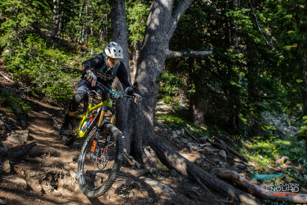 Master s 40 Male Tate Dunkel working his way through the chicanes of loamy dirt and exposed roots on Stage 4.