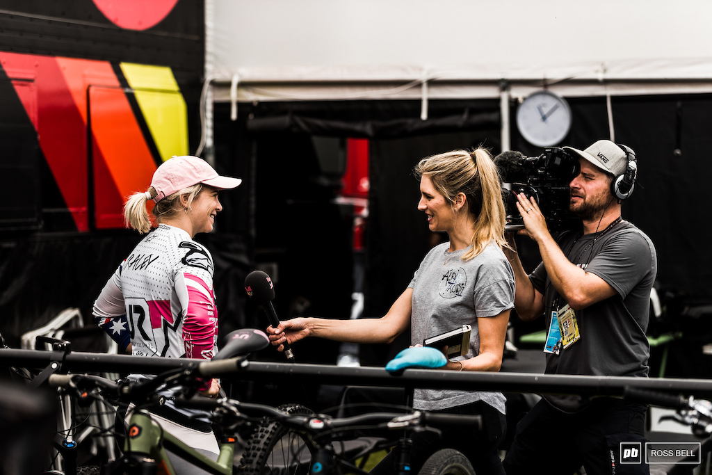 Tracey Hannah gets a little RedBull TV time before practice kicked off this morning.