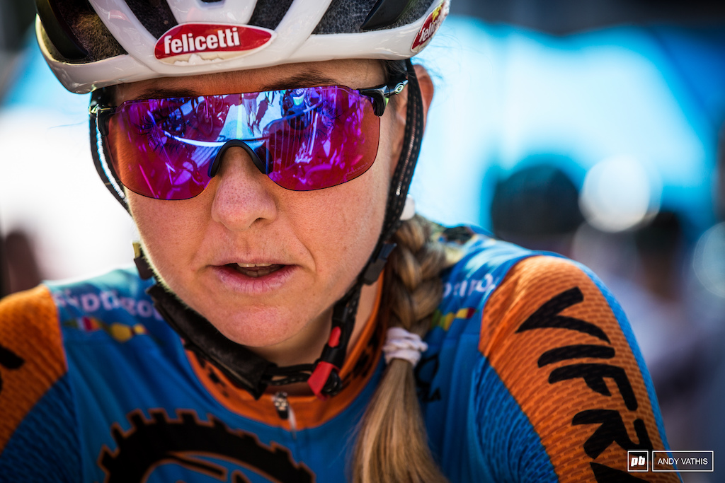 Eva Lechner ready for battle. She placed a solid fifth in Val Di Sole's XCC round last week.