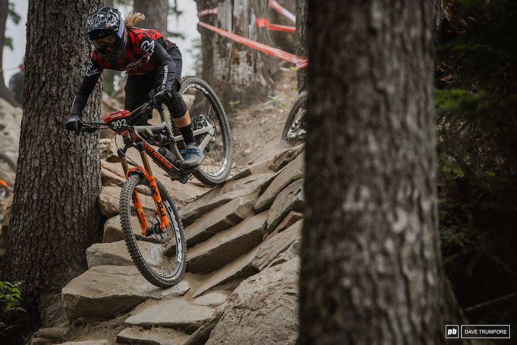 Andreane Lanthier-Nadeau trying to find some elusive traction on the polished rocks of Stage 4