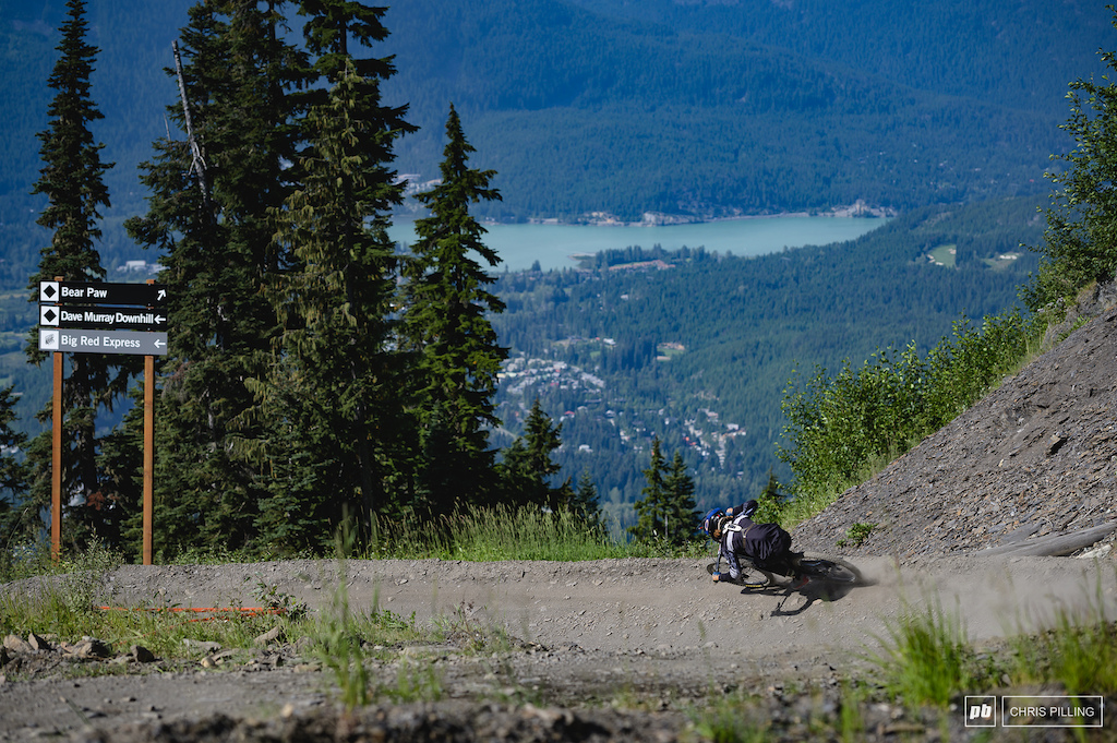 The views over Whistler valley can't be beat. No time to stop and take it in though