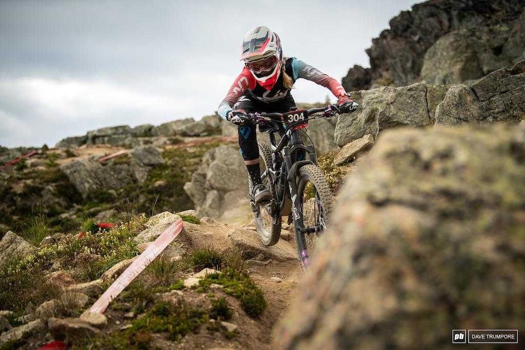 Rae Morrison navigating the dusty rocks high on Whistler Peak