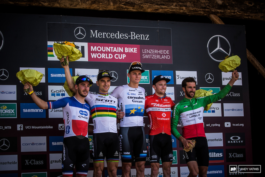 Mathieu van der Poel, Nino Schurter, Mathias FLueckiger, Victor Koretzky, and Gerhard Kerschbaumer close out Men's Elite podium.