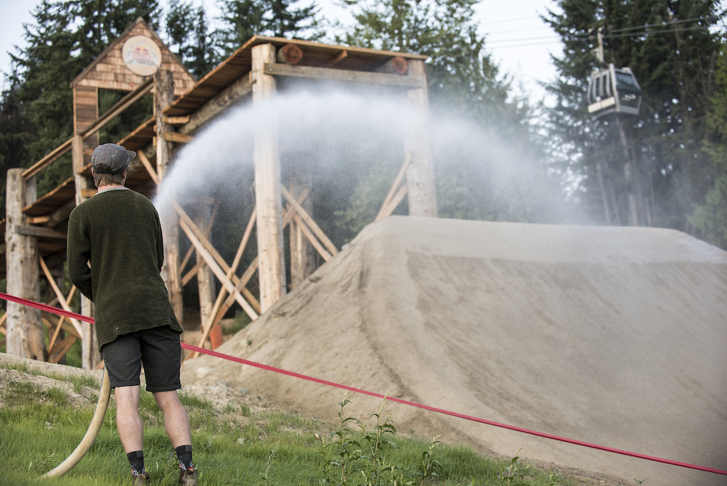 Joyride builder prepares the Redbull Joyride course in Whistler Canada on August 7 2019