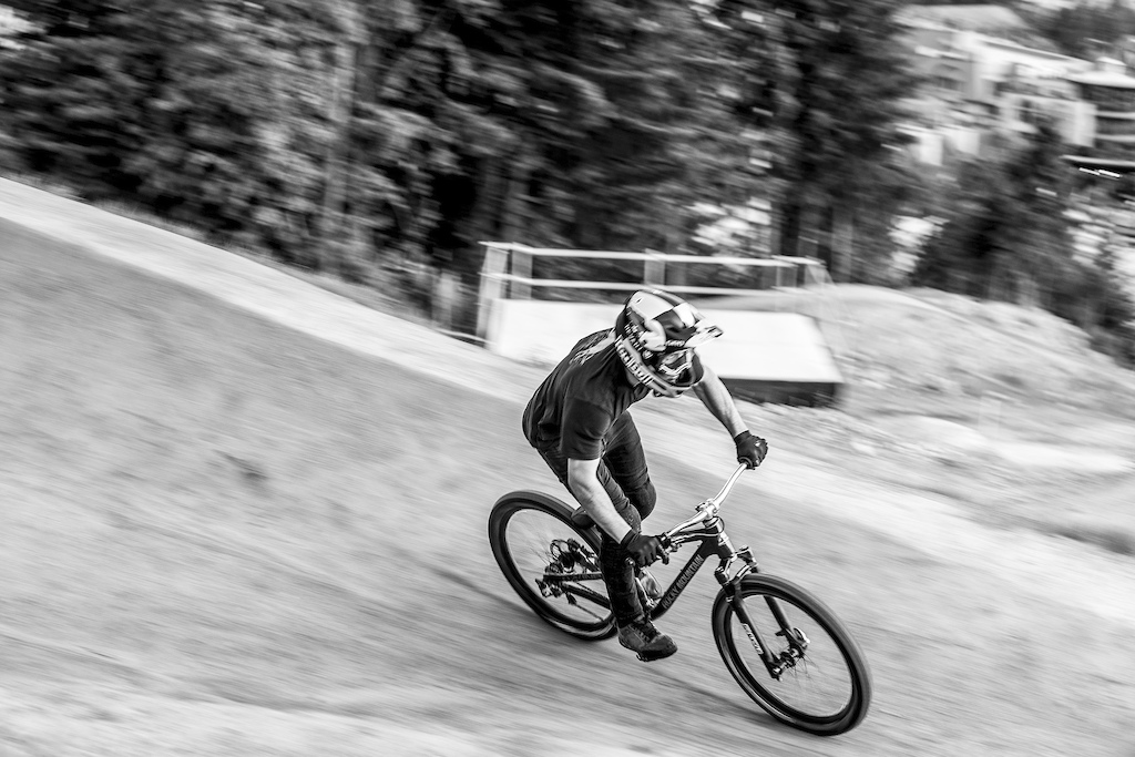 Carson Storch performs during the preview of the Redbull Joyride course in Whistler Canada on August 7 2019