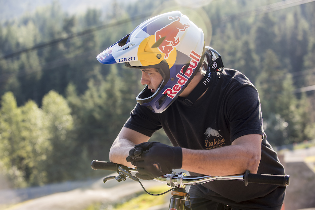 Carson Storch poses for a portrait during the preview of the Redbull Joyride course in Whistler Canada on Aug 7 2019