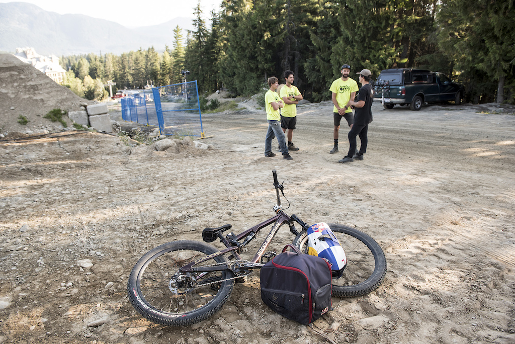Carson Storch and crew preview the Redbull Joyride course in Whistler, Canada on August 7, 2019