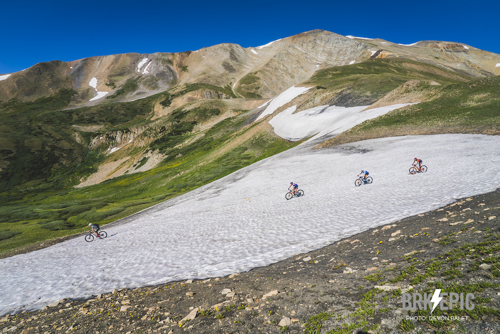 This year, Stage 3 of the Breck Epic featured a snow field, a herd of mountain goats, 7000+ feet of climbing over the Continental Divide twice and some fast descents.  Photo: Devon Balet