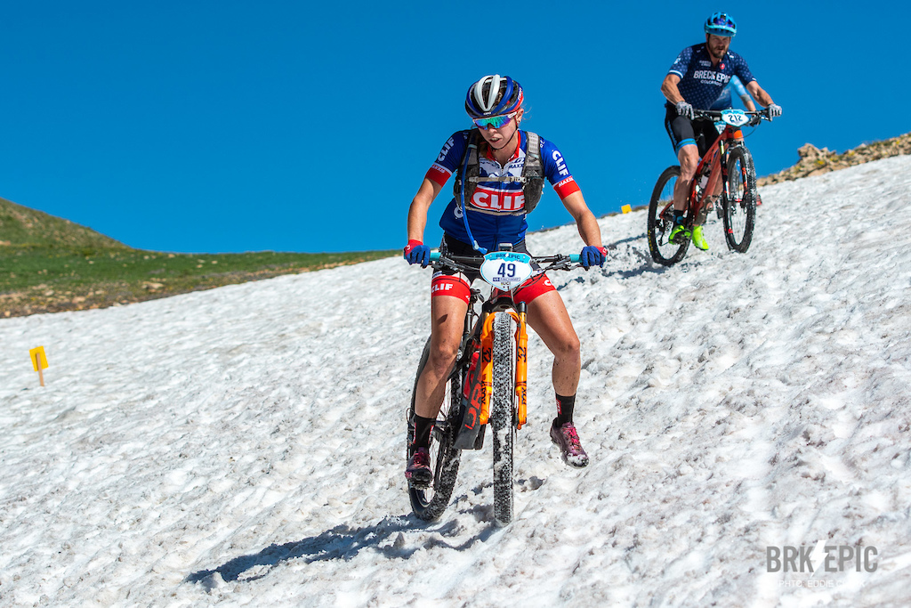 Stage 3 of the Breck Epic featured 7000+ of climbing in addition to a snow field. No wonder it's the Queen stage.  Photo: Eddie Clark