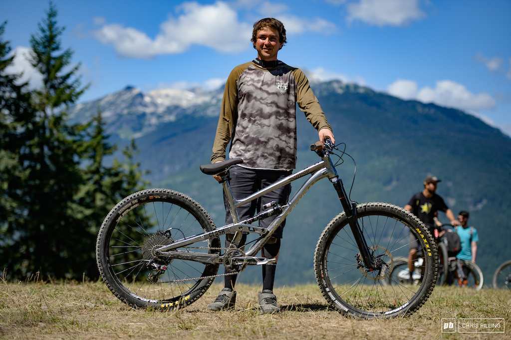 Brendan Howey riding a Commencal Clash. He has added a knobby tire in the back and pumped the suspension up. call it good he says.