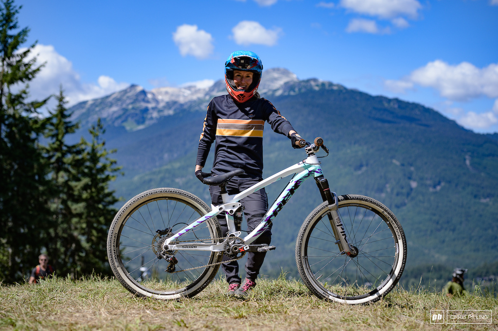 Casey Brown is riding her Trek Ticket Slope bike with a cool 90 s colour way. Running higher psi in the tires is about all she s had to do to get the bike ready. And how about those white walls.