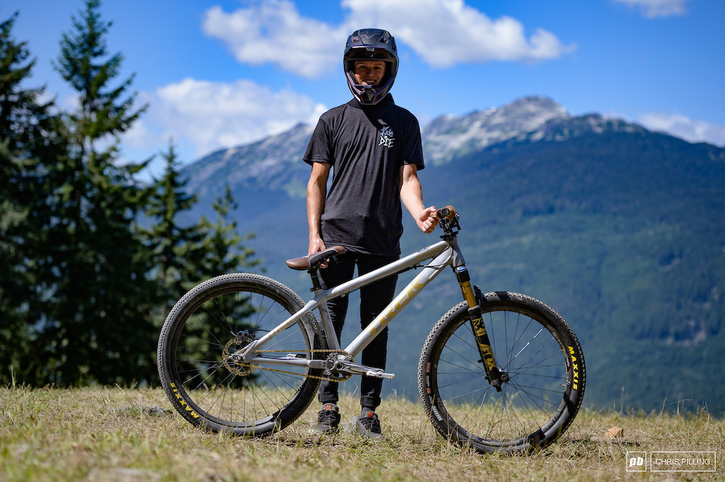 Peter Jamison is riding a Trek Ticket hardtail. He has switched out his front tire for a Maxxis Ikon for added traction. An up sized rotor for more brake control and a harder gear will help him with gate starts.