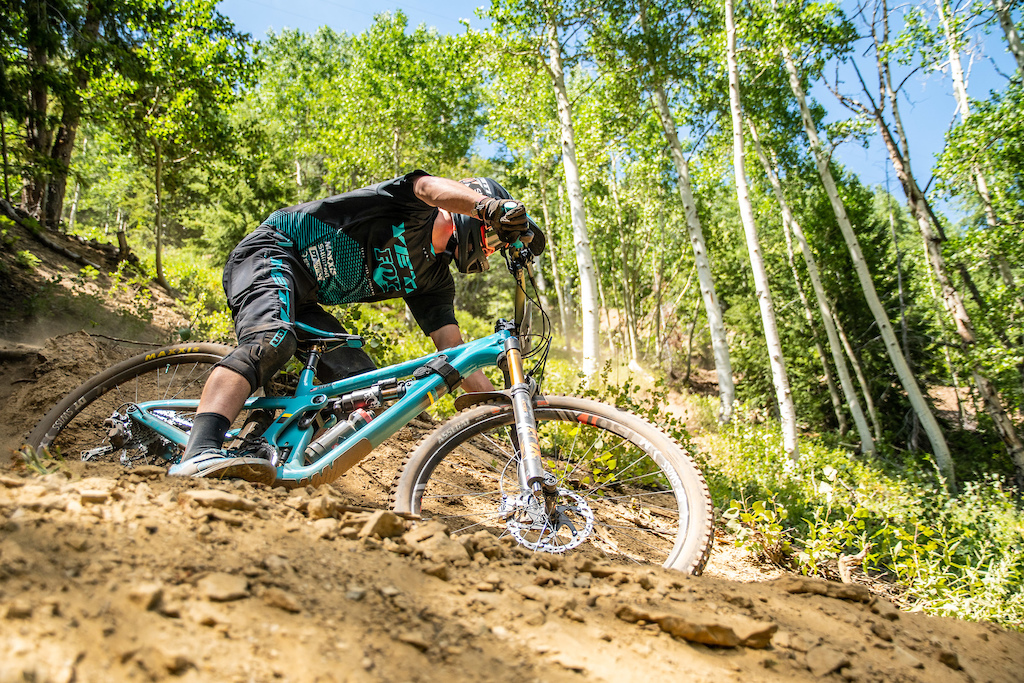 Quinn railing a steep berm lower down on stage 5.