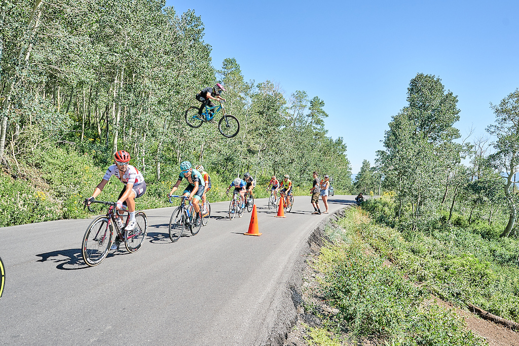 Danny Fendler 21 years old jumps over a peloton of racers on Empire Pass during the sixth stage of the Tour De Utah.