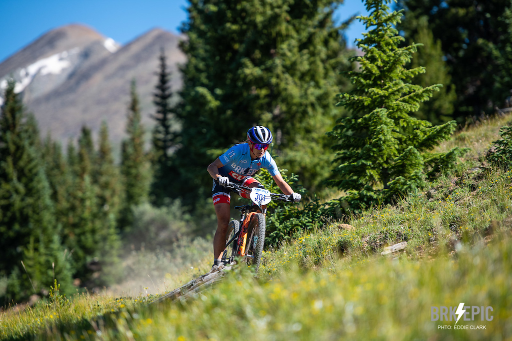The Breck Epic's finale on Day 6. Katerina Nash the overall winner of the 6-stage race for the women raced strong all week. Photo: Eddie Clark