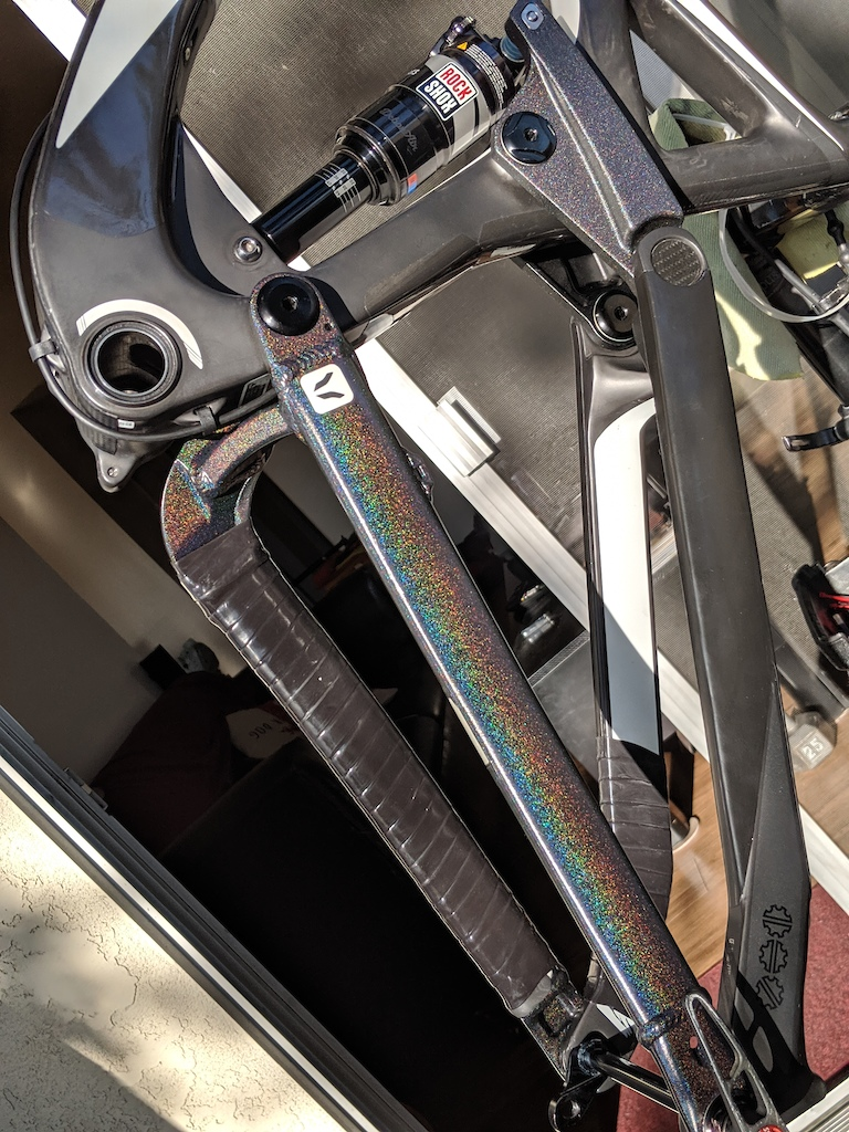 Rainbow Metal flake clear went on all the alloy parts... i overdid the metalflake clear on the linkage .. that s why it looks different... The effect is very subtle you don t see it unless you are looking for it or catch the part in the right light and angle for the flakes to pop... took this pic 7 times to get one that showed the color.