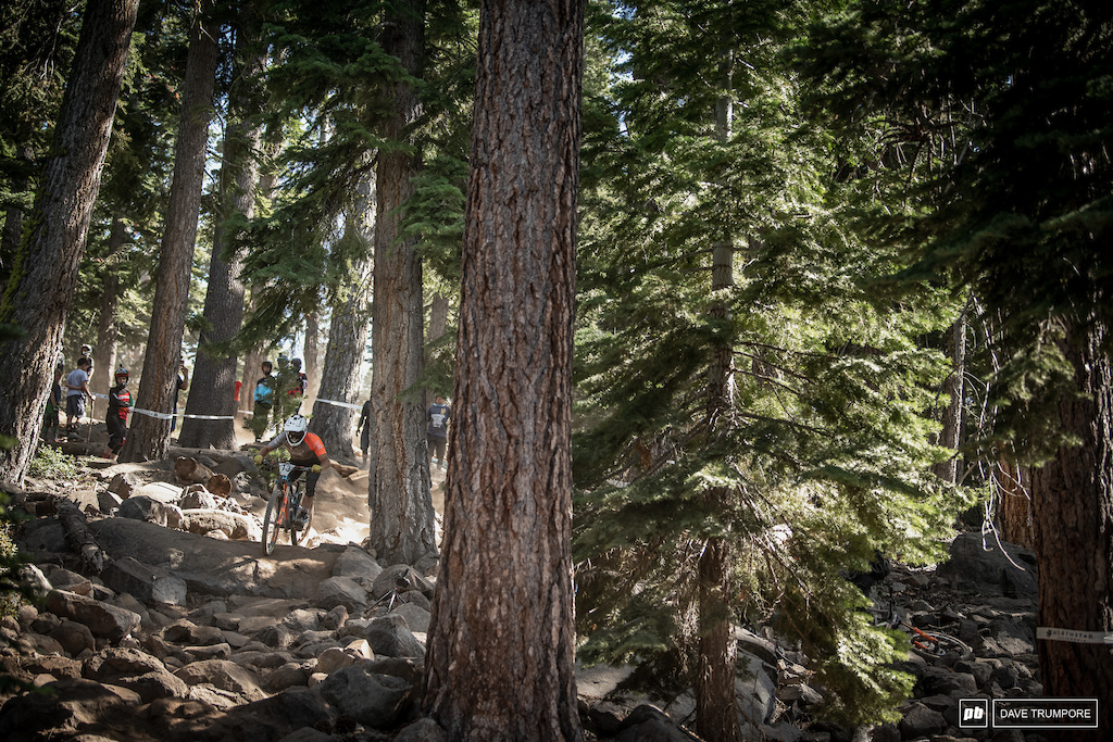 Robin Wallner through one of many rock gardens that make up much of the terrain in Northstar