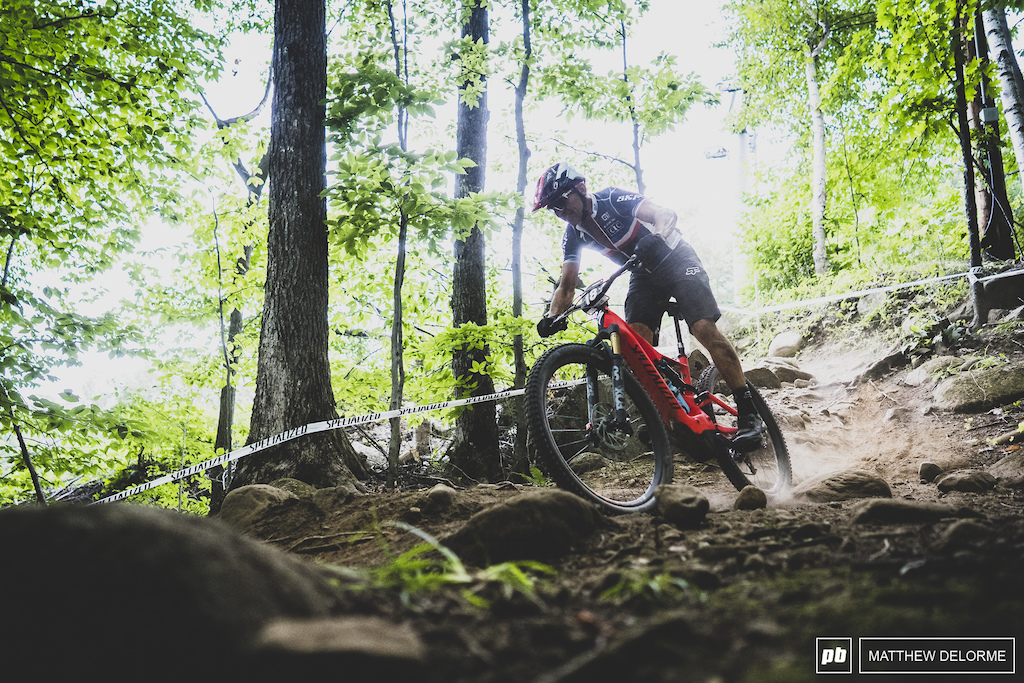 Jean Pierre Bruni Loic s father rallies his eMTB in the masters class.