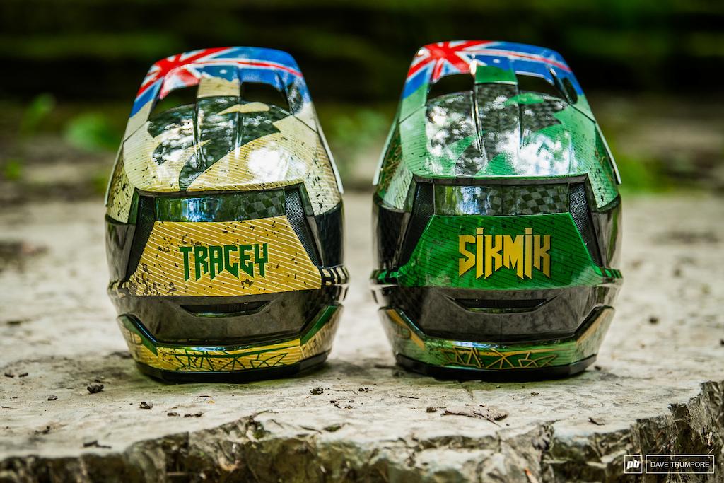 Mick and Tracey Hannah's custom Bluegrass helmets