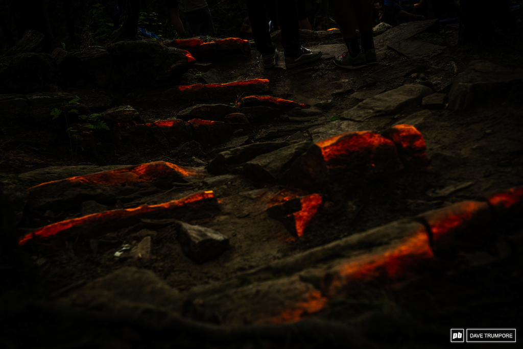 When you turn the exposure down to mimic what the riders see it becomes very clear why the rocks are painted orange