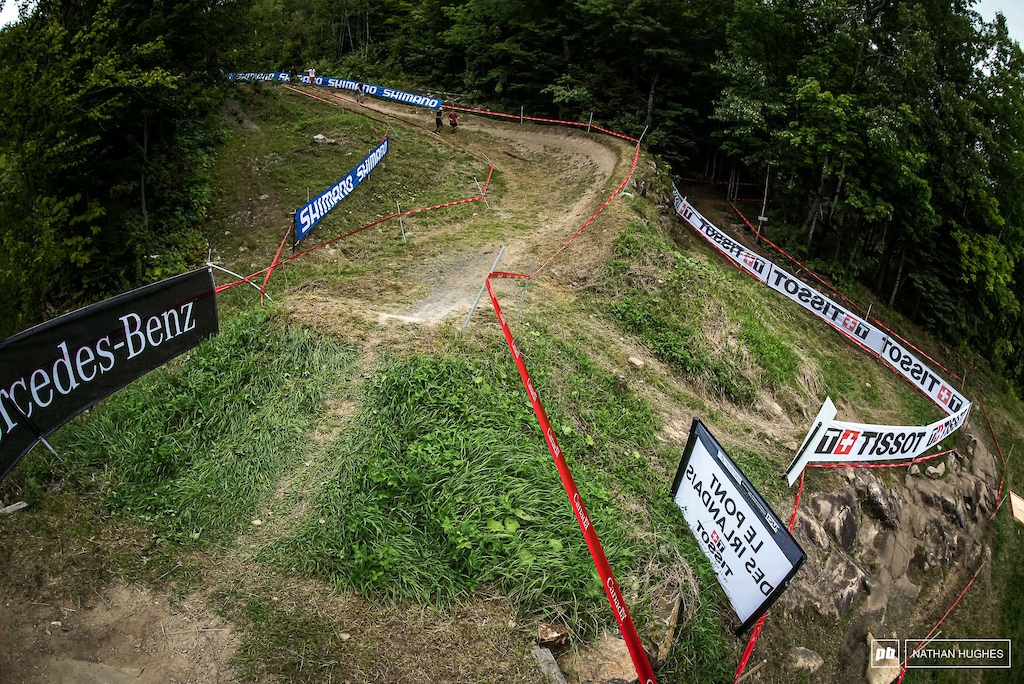 Memories of Aaron Gwin's 2017 winning run and his inside line on this berm shortly before the finish area.