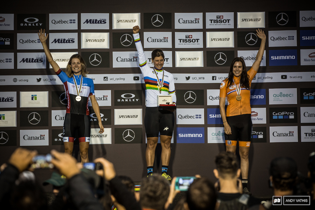 Nathalie Schneitter Maghalie Rochette and Anneke Beerten for the first eMtb World Champs Women s podium.