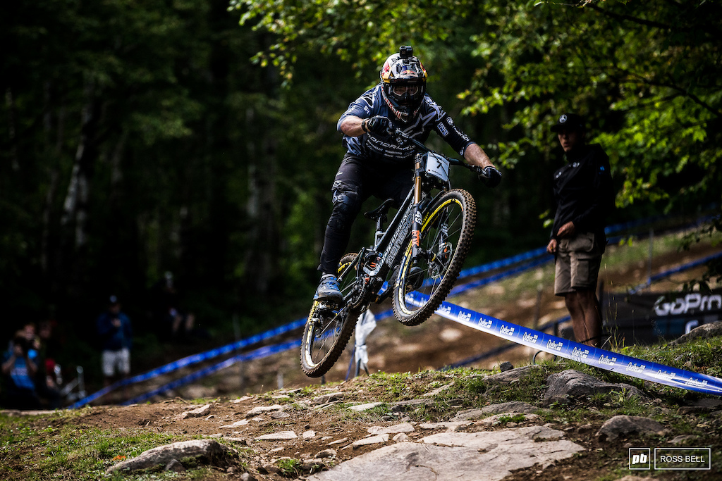 Brook Macdonald coming in for a back wheel landing on the fastest part of the course.