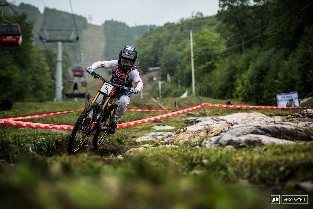 Laurie Greenland's wheel decided it had enough of the Mont Sainte Anne rocks during seeding runs. Luckily he has another full day of practice tomorrow to sort that out.