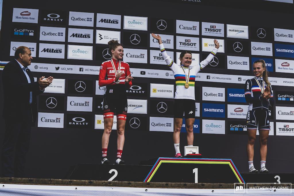 Frei, Stigger, and Lecomte, your U23 women podium.