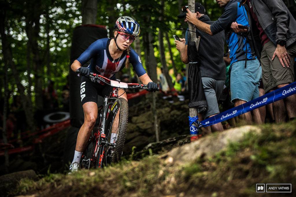 Kate Courtney has been struggling as of late to keep the win streak alive. Still a strong ride today finishing fifth.