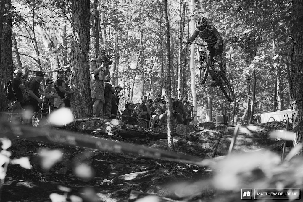 Greg Minnaar hucking it deep in the lower woods. Minnaar  took fifth.