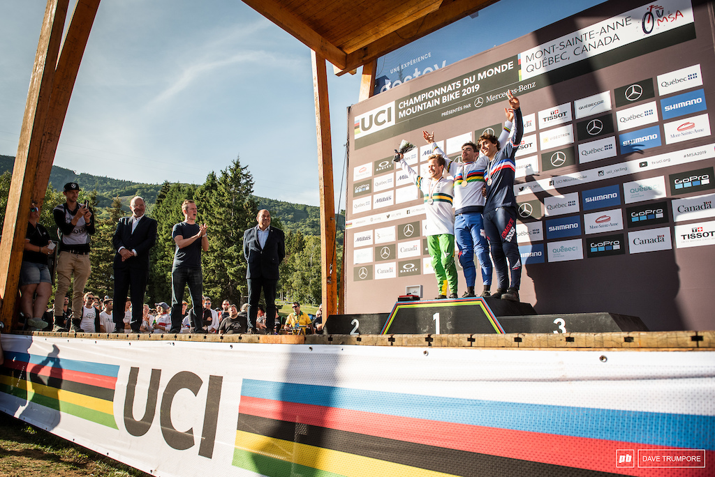 Loic Bruni, Troy Brosnan, and Amaury Pierron taking home the medals at World Champs
