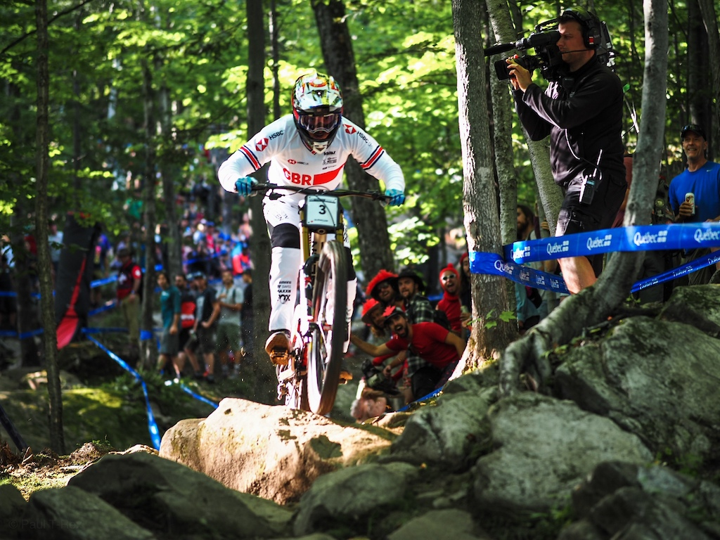 Danny Hart in the rock garden at the 2019 Mont Sainte Anne World Championship Final