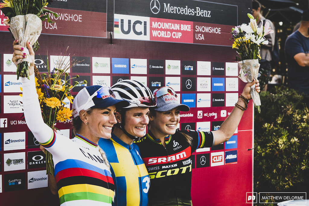 Rissveds, Courtney, and Prevot. Short Track winners.