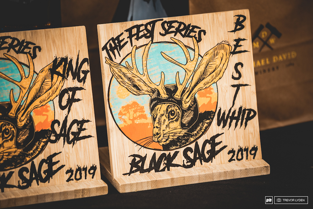 Handmade prizes by local ski and snowboard manufacturer Snoplanks.