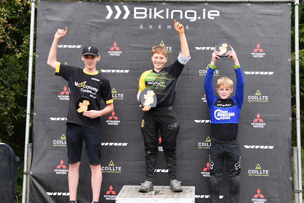 Junior category overall podium with Brendan Corry from Bespoke Cycles as the winner