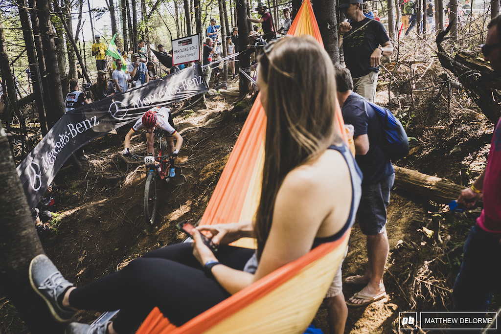 Prime spectating spots are key when you spend the day partying in the woods.