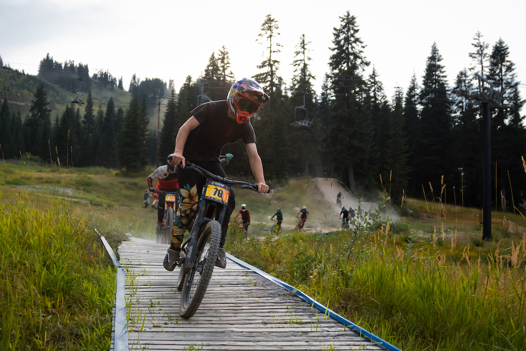In honor of the Declan Ervin Memorial Race there was a train of nearly every rider on the mountain that rolled down rock crusher. The train was led by the Junior Ex Men and followed by nearly 400 riders.